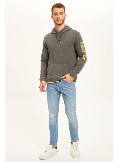 Defacto –Fit Kapüşonlu Slim Fit Spor Sweatshirt Gri